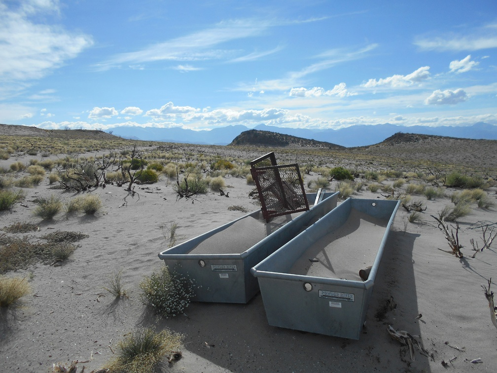 Nearby are two old water troughs, filled with sand gifted by the wind
