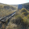 I arrive at the water tank and find an old trough hiding in the grass, containing much sand