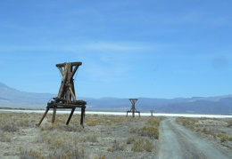 The old tram towers lead to a dry lake where salt could be harvested