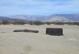 Old tire debris along Saline Valley Road