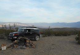 We have a great view down to Saline Valley from our Lead Canyon campsite