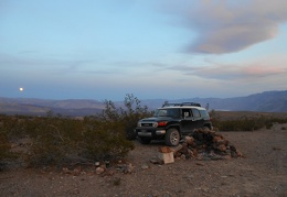 Back at our Lead Canyon campsite, the moon rises