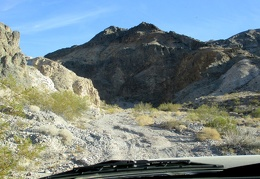 The FJ looks for a campsite as we arrive at the mouth of Dedeckera Canyon