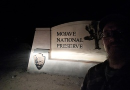I arrive at the Mojave National Preserve entrance just before 9 pm